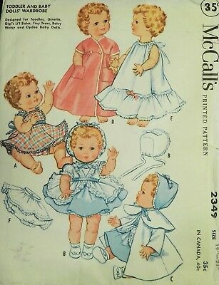 "Vtg 1950s McCall 2349 Sewing PATTERN Toddler Baby Doll Clothes Small 19"" 21"""
