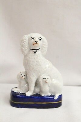 Old English Staffordshire Momma 2 Baby Spaniels Dogs Porcelain Figurine