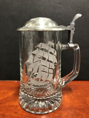 Old Spice Lidded Beer Stein Mug Clear Glass Etched Clipper Ship Ariel 1866 *R2