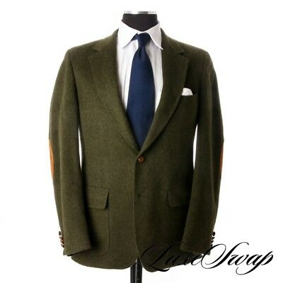 Lands End Made in USA FALL Wool Alpaca Loden Green Suede Elbow Patch Jacket 40