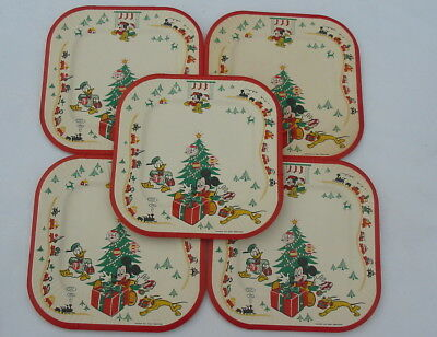 Vtg Walt Disney Mickey Mouse Donald Duck Pluto Christmas Paper Plates Train Tree