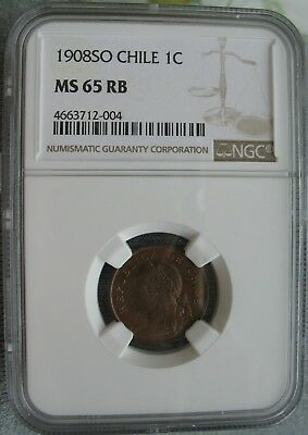 1908 SO Chile 1 Centavo NGC MS-65 RB