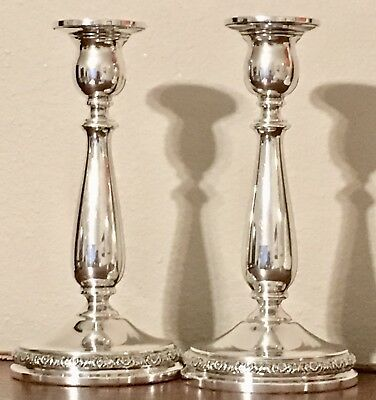 "International Sterling Silver Weighted Prelude N213 Pair 7 1/2"" Candlesticks VGC"