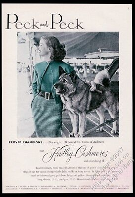 1952 Norwegian Elkhound photo champion dog Peck and Peck vintage print ad