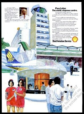 1975 Singapore Airlines stewardess airport art Shell Aviation vintage print ad