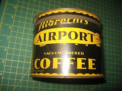 Scarce Coffee Can Tin Akron Airport Airship Zeppelin Blimp Goodyear Acme Grocery