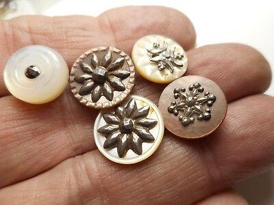"Lot of 5 MOP W/ Cut Steel Antique Vintage Buttons 5/8"" RS"