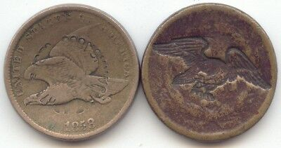 2 Counterstamped,Patent 1858 Flying Eagle,Eagle on 1859 Indian Cent,True Auction