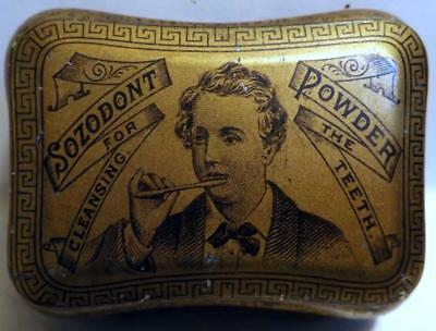 """Antique 2x3"""" SOZODONT Tooth Powder Tin Litho Can Exceptionally Clean c1900"""