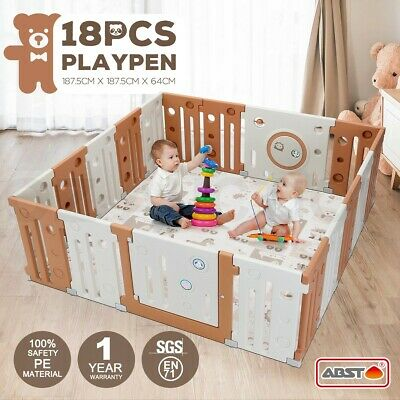 ABST 18 Sided Panel Baby Playpen Interactive Kids Toddler with Safety Gates Lock