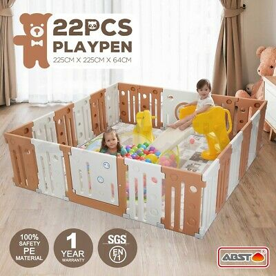 ABST 22 Sided Panel Baby Playpen Interactive Kids Toddler Safety Gates with Lock