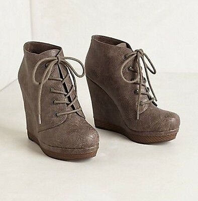 ffb15f0d134 Anthropologie Zurich Booties Seychelles Shoes Wedge Lace Up Ankle Boots Gray