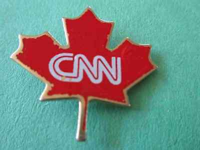 CNN Canada (White Letters on Red Maple Leaf) TV Station Media Pin
