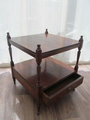 Mahogany 2 Tier Side Lamp Table w  Drawer on Casters Antique Victorian Furniture