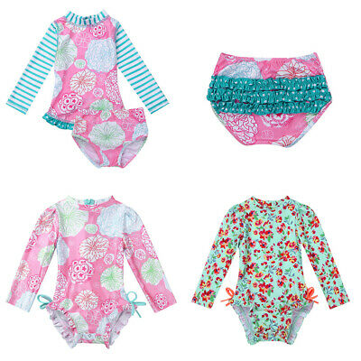 Toddler Girls Swimwear Floral Ruffled Swimsuit Bathing Suit Rash Guard UV 50 +