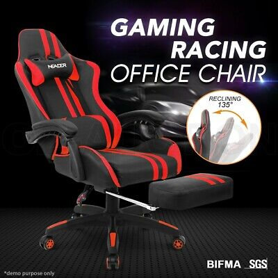 PU Leather Ergonomic Gaming Racing Office Computer Chair with Footrest RD & BK