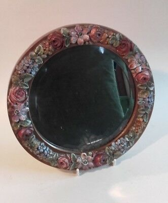 Antique Vintage Barbola Flower Mirror / Pink faded roses,  Antique colours