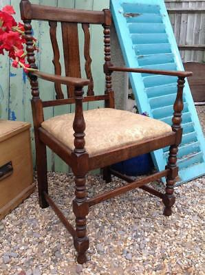 Vintage 1930's Grand Carver Chair Solid Turned Oak Captains Chair Rustic Chic