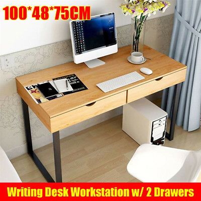Wood Vintage Computer Desk Retro Home Office Writing Table 2 Drawer Foldable