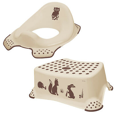 Keeeper 2-teiliges Set FOREST Schemel einstufig, WC-Sitz Toilettensitz beige NEU
