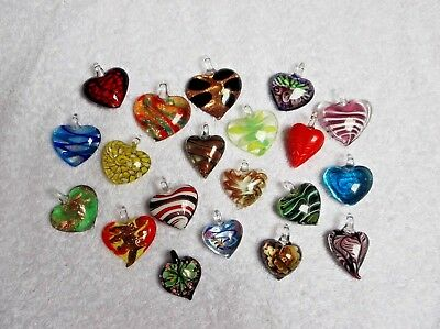 JOB LOT 20 New GLASS HEART PENDANTS All Different Ideal for Resale/Gifts E