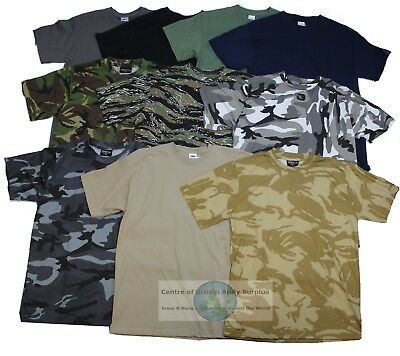 Army Military Style Camouflage Camo T Shirt New Camo & Plain