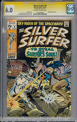 Silver Surfer #9 Cgc 6.0 Oww Pages Ss Stan Lee Signed Cgc #1197203003