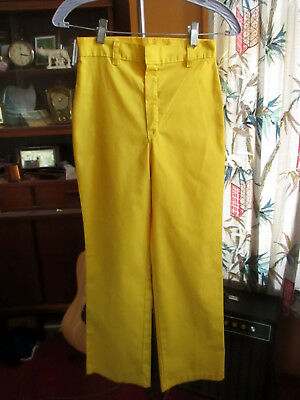 Sz 12 25x26 true Vtg 70s Girls HEALTH TEX YELLOW THIN BOOTCUT DISCO JEANS PANTS