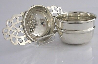 Solid Sterling Silver Tea Strainer And Rip Bowl 1940 Art Deco English Antique