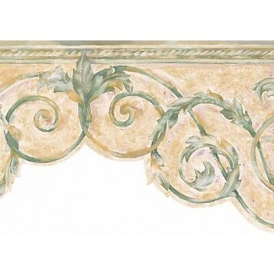 Watercolor Green & Beige Scroll Wallpaper Border SI3701-1