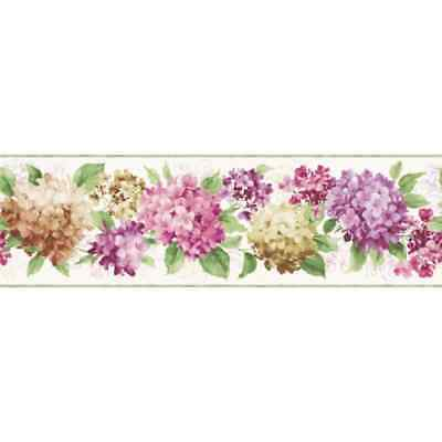 Colorful Hydrangea on Sure Strip Wallpaper Border KH7064BD
