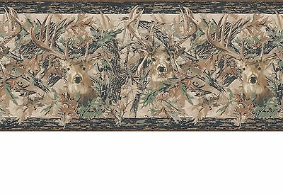Camouflage Camo Leaves with Deer Head Lodge Sure Strip Wallpaper Border JL1062BD