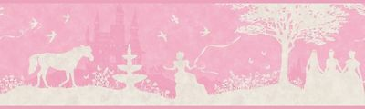 Pink & White Disney Princess Silhouette Toile Wallpaper Border ZB3432BD