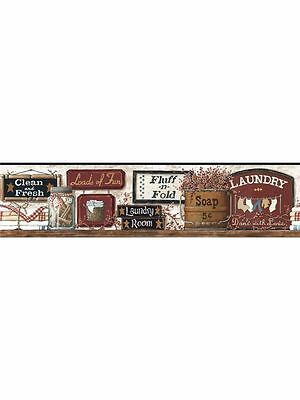 York Heart & Crafts III Laundry Signs Sure Strip Wallpaper Border CB5512BD
