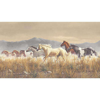 Horses Running Across Tall Grass Plains Wallpaper Border MN5021