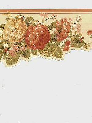 Antique Laser Cut Roses on Cream Background Wallpaper Border DS106102D
