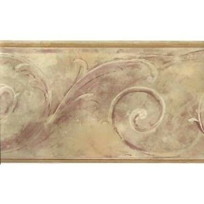 Formal Matt Gold with Burgundy Scroll Wallpaper Border FT75795