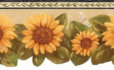 Sunflower with Dragonflies Wallpaper Border FT017202B