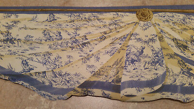Blue and Yellow Colonial Swag Country Toile Diecut Wallpaper Border MW30237DC