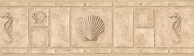 Faux Bricks with Seahorse Seashell Beige Retro Design Wallpaper Border MKB5094