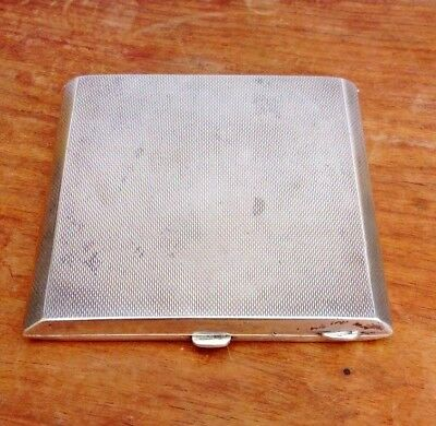 Art Deco Engine Turned Solid Silver Square Compact