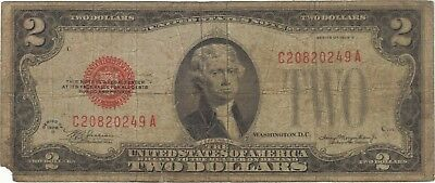1928 $2 Dollars United States Note Red Seal Banknote Bill Money Cash Jefferson