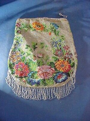 1920s ART DECO Reticule Style BEAD DECORATED PURSE w Multi COLOR FLORAL Design