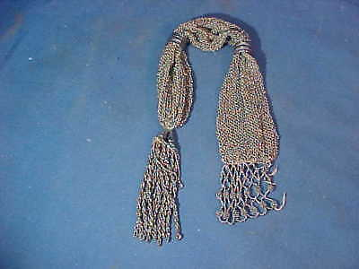 1920s ART DECO SILVER STEEL Mesh Beaded POUCHETTE Swag Type CHATELAINE PURSE