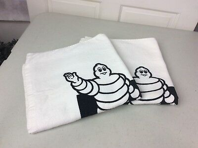 "MICHELIN Tire Man White Towels Cotton Set of Two 54"" x 27"""
