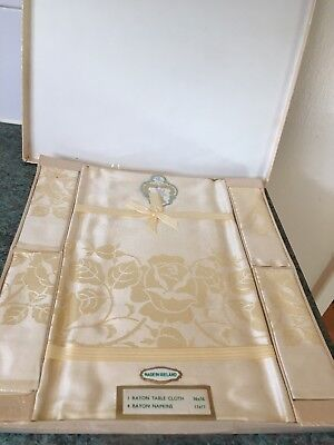 Vintage Rayon Table cloth  & 4 Serviettes Gold Medal Brand made in Ireland