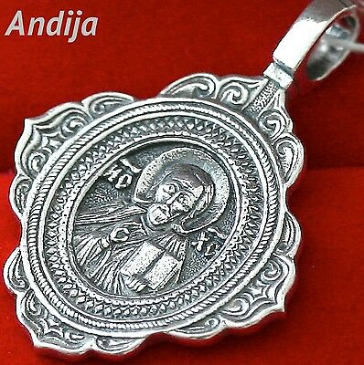 Orthodox Russian Icon  Pendant Jesus Christ Pantocrator, 925 Sterling Silver New