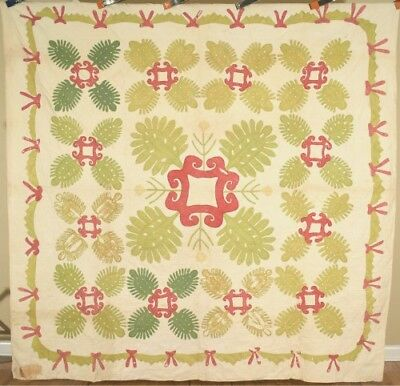 VERY EARLY 1840's Pineapple Medallion Applique Antique Quilt ~SWAG BORDER!
