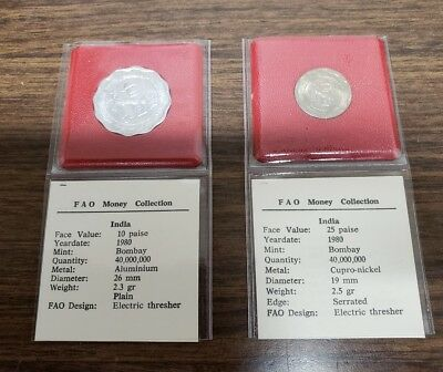 Set Of 2 India 1980 F.A.O. Coin Collection