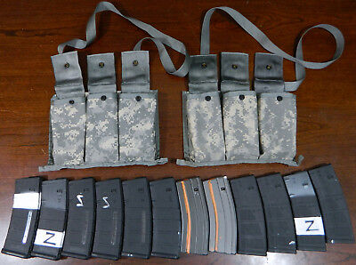 Lot (12) 5.56 x 45mm 30 Round Capacity Magazines w 2 Pouches PMAG/MAGPUL,MFT,D&H